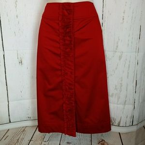 Talbots Red Center Ruffle Pencil Skirt 16